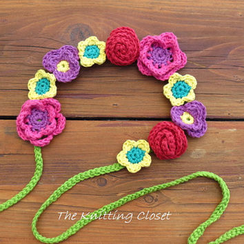 Flower Headband Pattern - Crochet Headband Pattern - Floral Crown Pattern