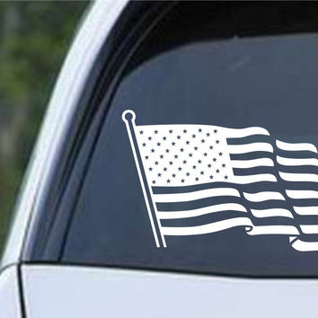 American Flag With Pole Patriotic Die Cut Vinyl Decal Sticker