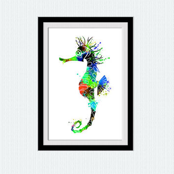 Sea horse print, sea horse art, sea horse watercolor, wall decor, nautical poster, living room art, watercolor silhouette, colorful art, W6