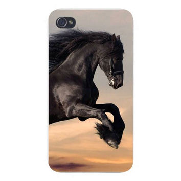 Apple Iphone Custom Case 4 4s Snap on - Black Stallion Horse Galloping w/ Sky Background