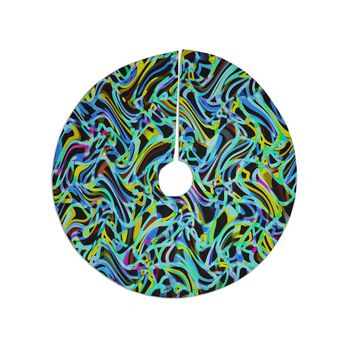 "Dawid Roc ""Camouflage FreeForm Movement 1"" Blue Digital Tree Skirt"