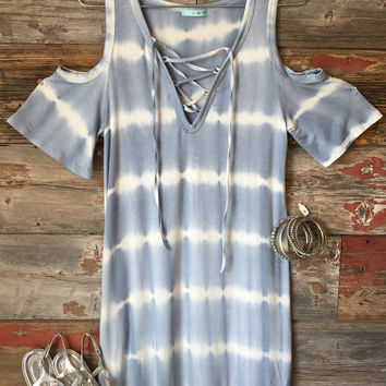 Lace Up Tye Dye Dress: Blue