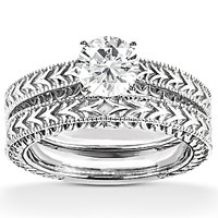 1.5 Ct. wedding band set diamonds & gold solitaire ring