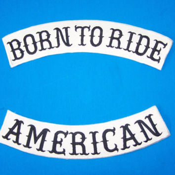 BORN TO RIDE AMERICAN ROCKERS BACK PATCH SET FOR MOTORCYCLE BIKER VEST JACKET