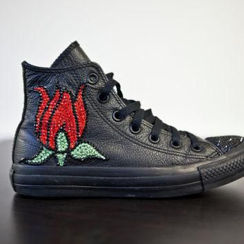 Trainers- High top all black custom converse with red and green swarovski crystal tuli