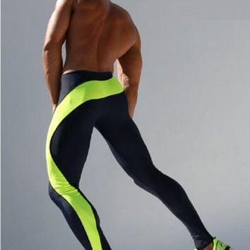 New Mens Joggers Spliced Tight Ankle Sweatpants Spandex  Tights Sporting Leggings Fitness Men Skinny Joggers Sporting Green