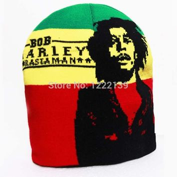 NEW wool knitted beanie hats Bob Marley Jamaican singer hip-hop cap for woman and men black green yellow red colors gorro