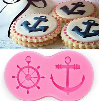 1Pcs Anchor Rudder Wheel Ship Shape Silicone Mold Fondant Sailor Nautical Forms Cookie Baking Chocolate Mold Cake Decorating Baking Tools