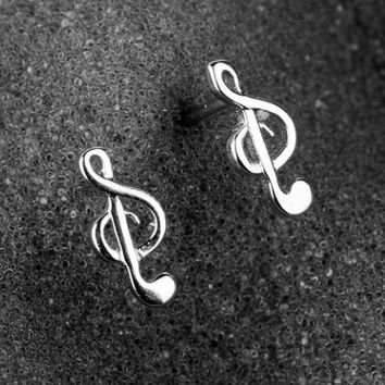 Wedding Jewelry Bridal Real 100% 925 Sterling Silver Stud Earring New Unique Music Note Charms Stud Earrings Girl's Gift Womens