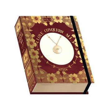 Locket Necklace Vintage Book Box - Love Conquers All - Heart Charm
