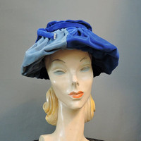 Vintage 1950s Hat - 50s Gathered Blue Velvet in 3 shades, fits 22 inch head, Unusual Hat, Created by Marilyn