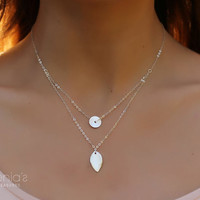 """Silver layering necklace, leaf necklace, bridal necklace, wave pendant, circle necklace, sterling silver, """"Ariadne"""" Necklace"""