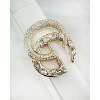 GUCCI fashion hot selling diamond and gold buckle men's and women's casual belt