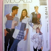 Misses', Men's or Teens' Button Up Shirts Size X-Small, Small, Medium McCall's 7172 Sewing Pattern Uncut