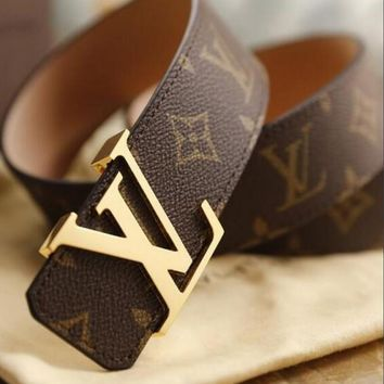 LV Louis Vuitton Trending Unisex Personality Smooth Buckle Monogram Leather Print Belt I