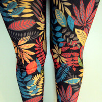Leaf Leggings Yoga Fitness Workout Dancing Pants Tights Women Clothing Fashion Streetwear Rock Punk Leggings Valentine's Day Gift