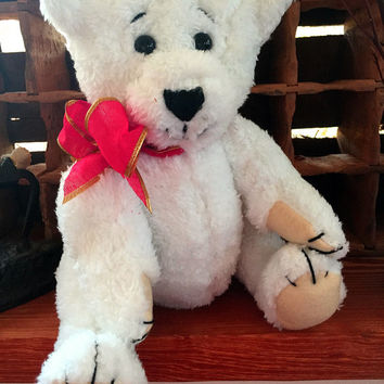 "Teddy ""Snowball"" handmade teddy bear, own pattern, plush, white"