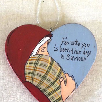 Nativity Heart Ornament with Mary and Baby Jesus Tole Painted Wood