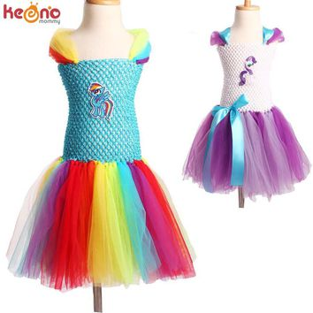 Little Horse Inspired Girls Tutu Dress Fluffy Handmade Cartoon Rainbow Dress Halloween Birthday Party Costume TS103