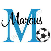 Soccer Wall Decal - Personalized Sports Theme Decal With Initial & Baby Name for Boys Nursery Or Toddler Room Wall Art 22H x 30W BN016
