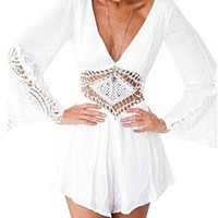 Women's Chiffon Crochet Romper Backless Long Sleeve White Jumpsuit
