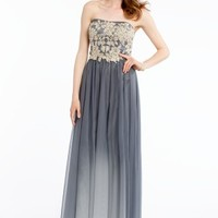 Lace and Pearl Dress with Pleated Ombre Skirt