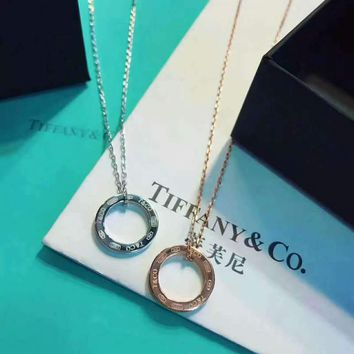 Tiffany trendy sterling silver 1837 ring necklace high quality