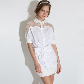 Fashion  White Bow Line Bodycon Mesh Shirt Dress Preppy Sheer Mini Dress Women Clothing