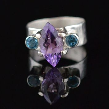 Sterling Silver Hand Hammered Amethyst & Topaz Ring