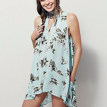 Free People Womens Faded Floral Sleeveless Tunic