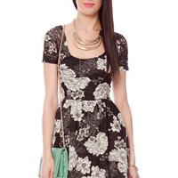 Orchid Cross Back Dress in Black and White :: tobi