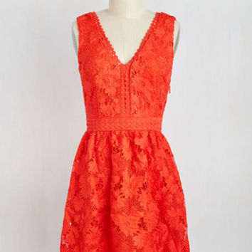 When I Groove, You Groove Dress in Vermillion