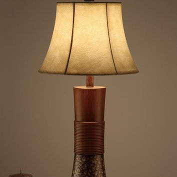 Bell Shade Table Lamp With Tall Base Stand Brown set of 2 By Poundex