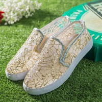 Lace Breathable Slip On Loafers Lazy Casual Flat Shoes