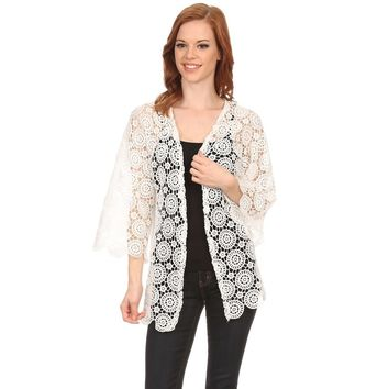 Womens Circle Lace Lightweight Poncho