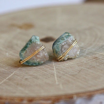 Healing Crystals and Stones, Pink and Green Tourmaline Crystal Stud Earrings, Bohemian Hippie Yoga Jewelry, christmas gift for her