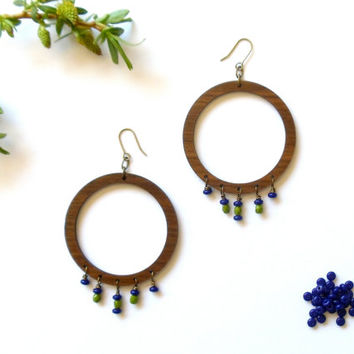 extra large wood hoop earrings // czech glass beaded jewelry