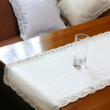 Handmade Crochet Table Runner- Fabric Crochet Design- Table Runner for Home Decor, Wedding Decor, Birthdays, Bridal & Gifts