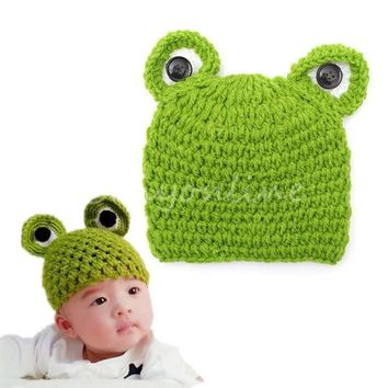 Newborn Baby Girl frog Crochet Knitted Photo Photography Wool Prop Cap Hat Gift