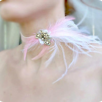 Pink Rhinestone Velvet Choker - Marie Antoinette - Feather Headdress