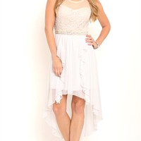 High Low Prom Dress with Illusion Neckline and Ruffle Skirt