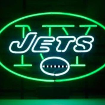 Business Custom NEON SIGN board For Football LED New York Jets REAL GLASS Tube BEER BAR PUB Club Shop Light Signs 15*12""