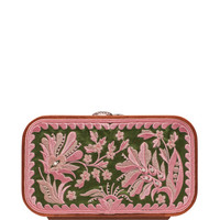 Floral Brocade Embroidered In Green & Pink by Katrin Langer - Moda Operandi