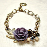 Purple Resin Rose and Antique Bronze Leaf Bracelet by VartJewelry