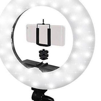 "14"" LED Ring Light, 5600K w/Cellp Clip Holder, Camera Mount Adapter, 360 Mini Ball Head+Stand"