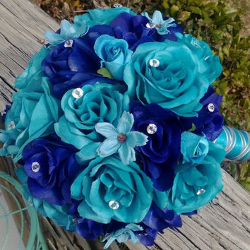 Malibu Blue & Royal Blue Rose Wedding Bouquet, Malibu Blue Bouquet, Royal Blue Turquoise Bouquet, Royal Blue Bouquet, Turquoise Bouquet