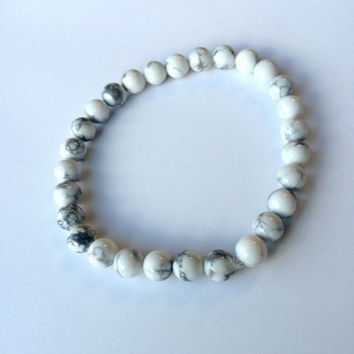 White & Grey Carrara Marble Bracelet