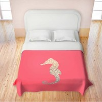 Duvet Cover Brushed Twill Twin, Queen, King from DiaNoche Designs by Monika Strigel Home Decor and Bedding Ideas - Gatsby Gold Coral Seahorse