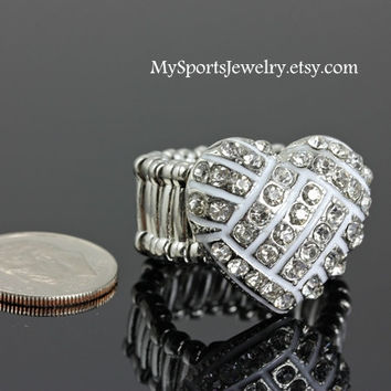 Volleyball Rhinestone Heart Shaped Ring