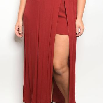 Plus size front slit maxi skirt